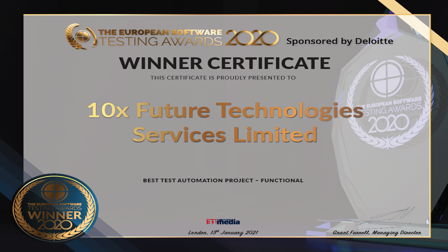 Winner certificate: European Software Awards 2020